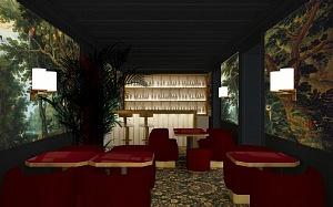 plan-3D-architecture bar Tres Particulier Hotel Particulier Montmartre